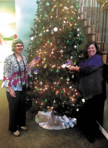 Irene and Peggy with tree